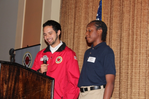 Corps member Jonathan Morris and Broadmoor Middle 8th Grader, Demond Brown